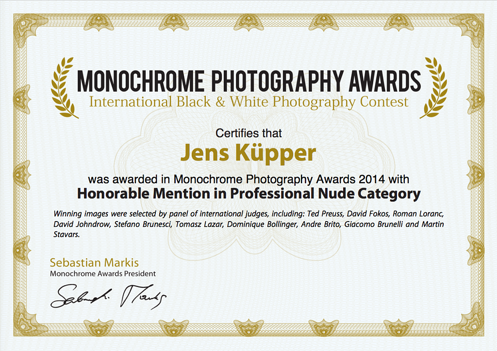 Certificate Monochrome Awards 2014