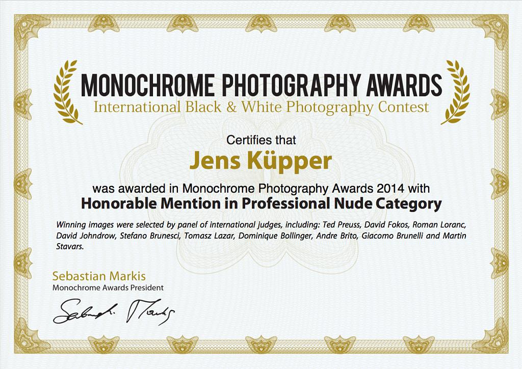 Certificate Monochrome Awards 2014